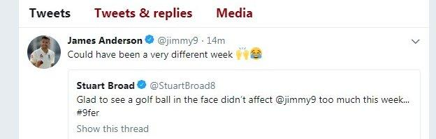 Anderson reply to broad on Twitter