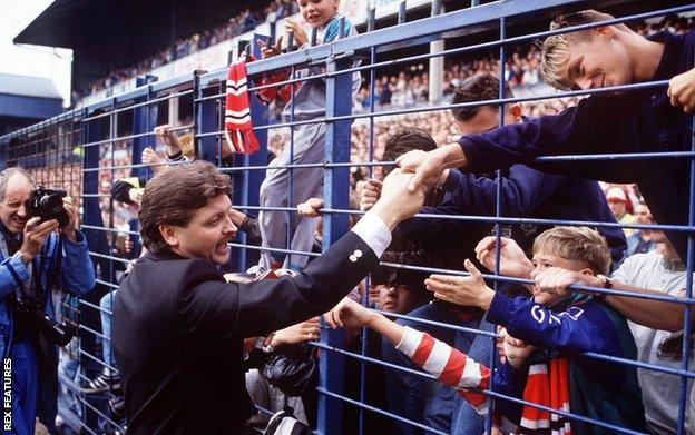 Knighton pictured with fans at Derby v Manchester United on 26 August 1989