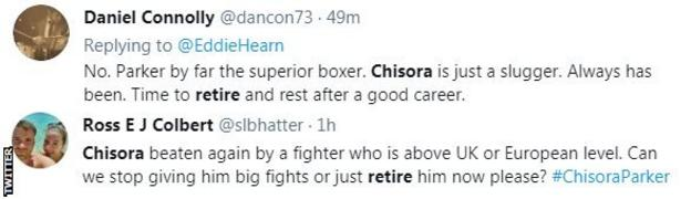 "Fans on Twitter call for Chisora to retire. One fan says he was ""again beaten a fighter who is above UK or European level"""