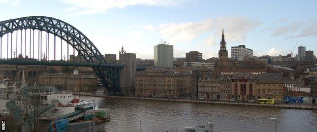 The Tyne Bridge and the Newcastle skyline