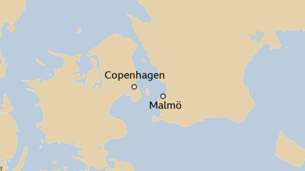 Map showing Copenhagen and Malmo