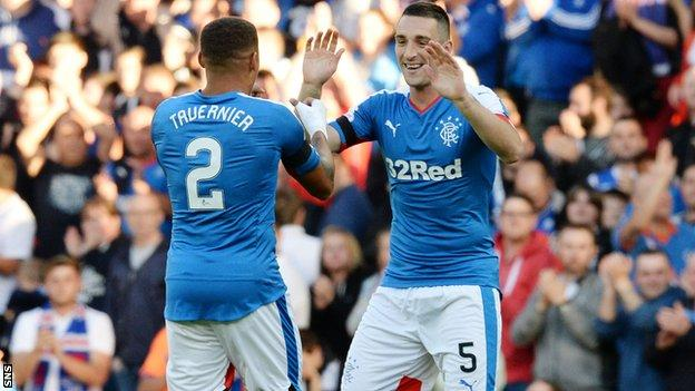 James Tavernier and Lee Wallace embrace