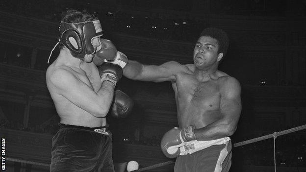 Muhammad Ali in action at the Royal Albert Hall in 1971