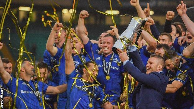 Leinster celebrate winning the Pro14 championship final in May 2019