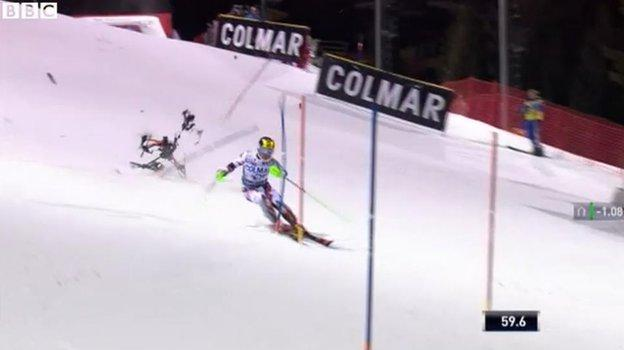 Hirscher appeared unaware on the near-miss