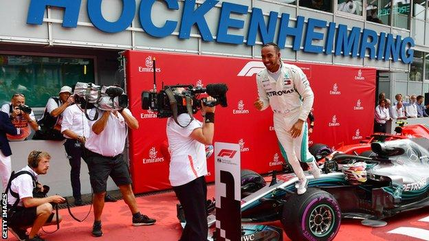 Lewis Hamilton celebrates victory at the 2018 German Grand Prix at Hockenheim