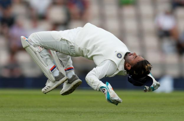 India's Rishabh Pant does a flip from the ground