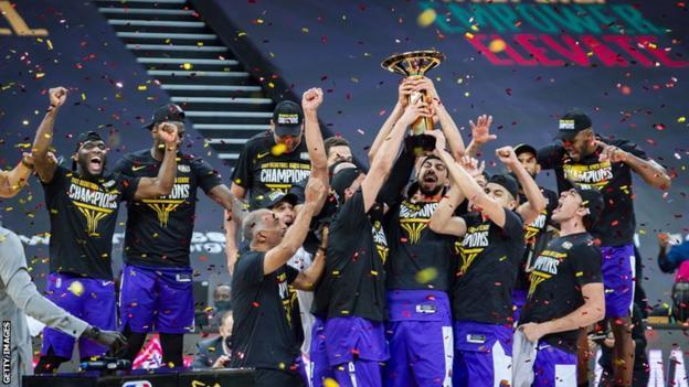 Egypt's Zamalek celebrate winning the inaugural Basketball Africa League