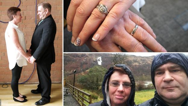 Denis Shannon (nee Larrad) with her husband Chris on their wedding day, their rings and on their (first) honeymoon on the West Highland Way