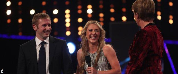 Jason and Laura Kenny share a joke with host Clare Balding