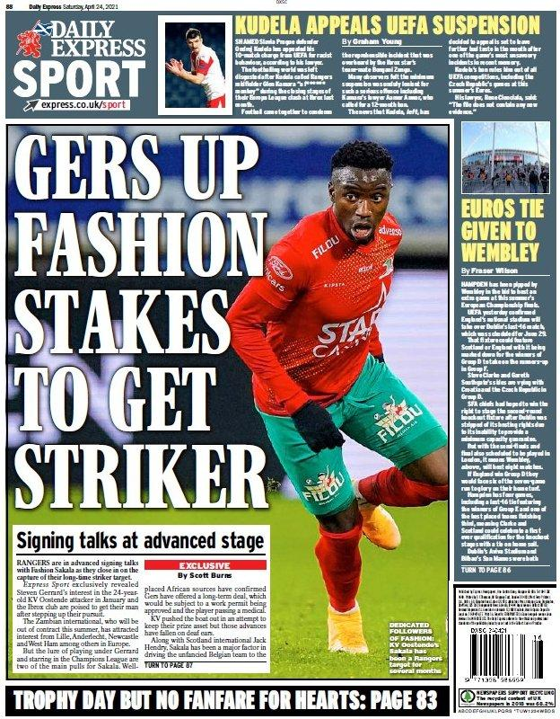 The back page of the Scottish Daily Express on 240421