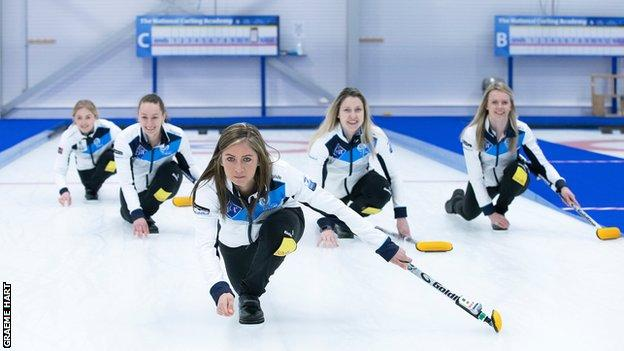 Eve Muirhead, front, is joined in Calgary by Vicky Wright, Jen Dodds, Lauren Gray and alternate Sophie Sinclair