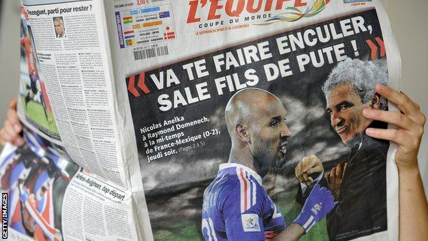 French newspaper reports on Anelka's bust-up with Domenech, 2010