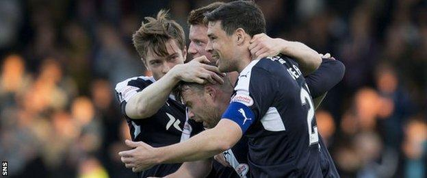 Rory Loy celebrates his goal for Dundee
