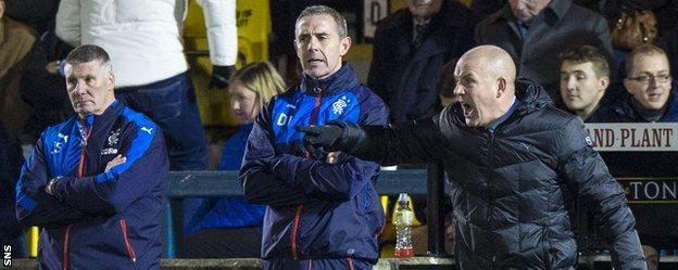 Rangers manager Mark Warburton directs from the sidelines