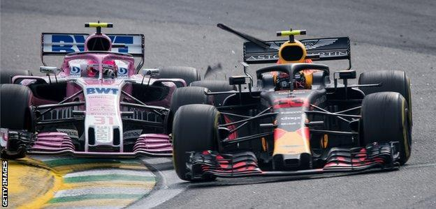 Esteban Ocon and Max Verstappen collide