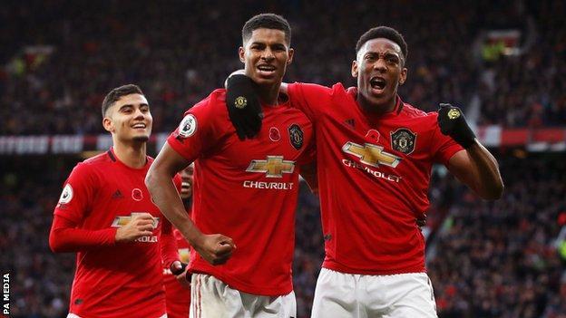 Marcus Rashford celebrates scoring for Manchester United