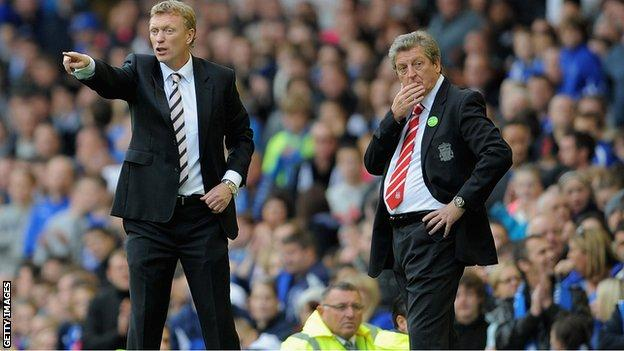 David Moyes and Roy Hodgson on the touchline for Merseyside derby, 17 October 2010