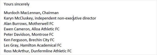 The letter was signed by seven of the nine SPFL board members - but not chief executive Neil Doncaster