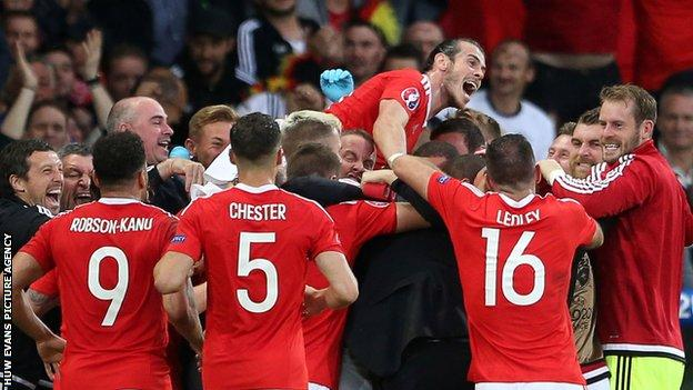 Wales celebrate a goal during Euro 2016