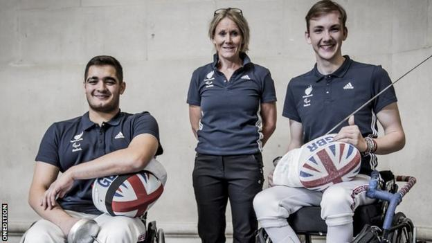 Dimitri Coutya (left) and Piers Gilliver (right) with ParalympicsGB Chef de Mission Penny Briscoe (centre)
