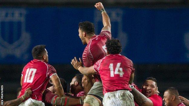 Tonga celebrate beating Italy in Padua in November, 2016