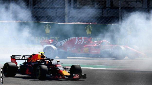 Ferrari's Sebastian Vettel spins off
