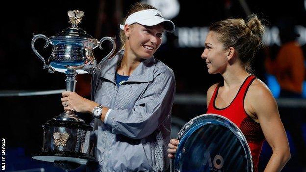 Caroline Wozniacki and Simona Halep
