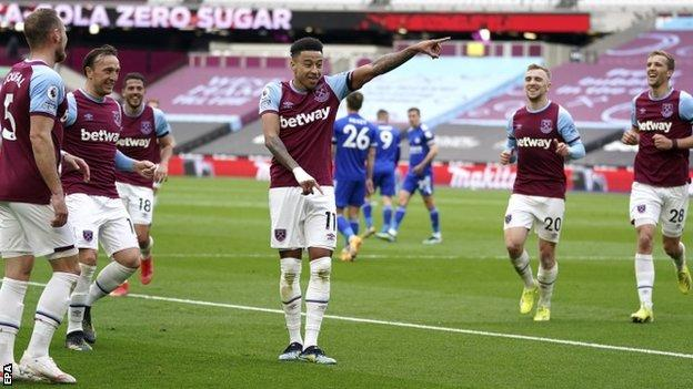 Jesse Lingard celebrates his first goal for West Ham against Leicester