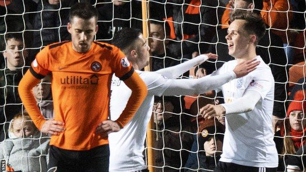 Lawrence Shankland (right) celebrates scoring for Ayr United against Dundee United