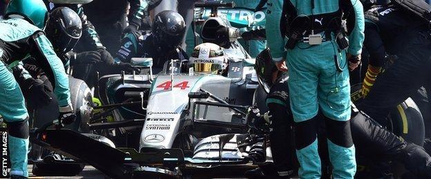 Lewis Hamilton makes a pit stop