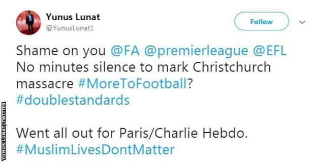 Tweet by Yunus Lunat criticising the Premier League