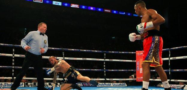 Kevin Mitchell is knocked down