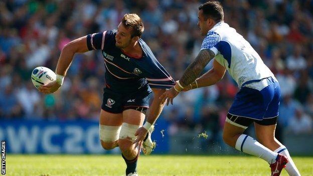 Cam Dolan playing for the USA rugby team against Samoa