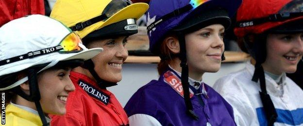 Pendleton (yellow cap) with other riders in the Betfair Supports Amateur Riders Handicap Stakes