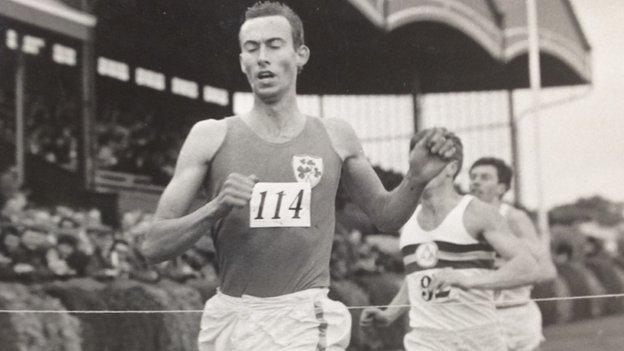 Derek Graham secures a mile victory in an Ireland match against England at Balmoral in Belfast in June 1965