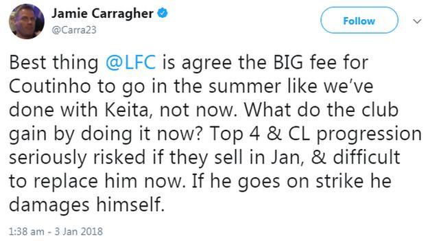 Carragher tweet