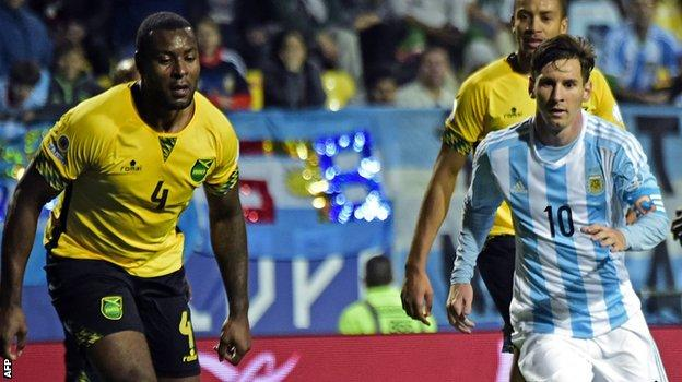 Wes Morgan in action for Jamaica against Argentina