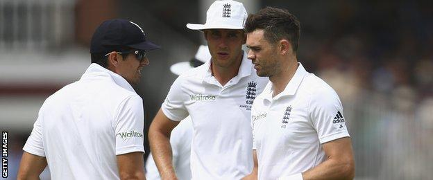 England's Alastair Cook, Stuart Broad and James Anderson