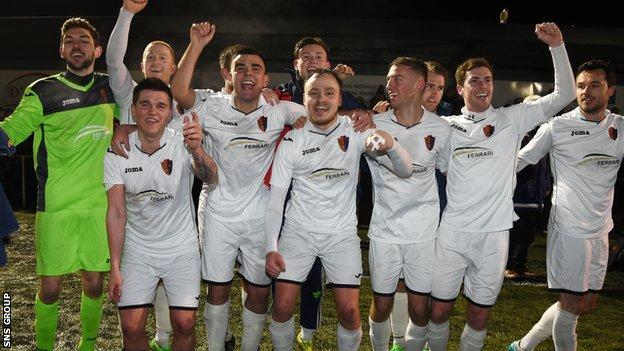 East Kilbride celebrate reaching the last 16 in the Scottish Cup