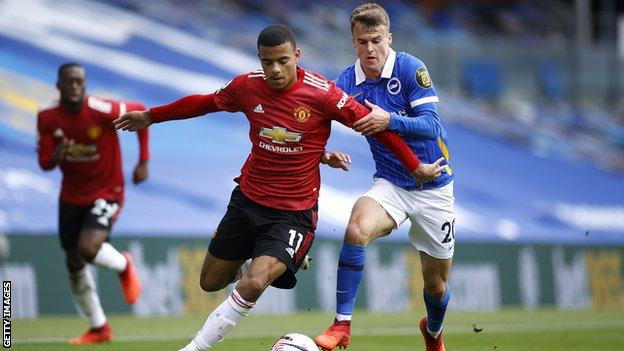 Mason Greenwood playing for Manchester United