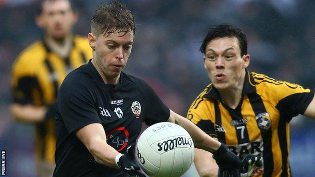 Jerome Johnston in action for Kilcoo against Crossmaglen in last year's Ulster Club Championship
