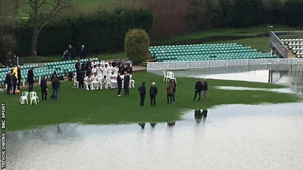 Worcestershire's players managed to find a one dry corner of the New Road outfield for their pre-season photocall