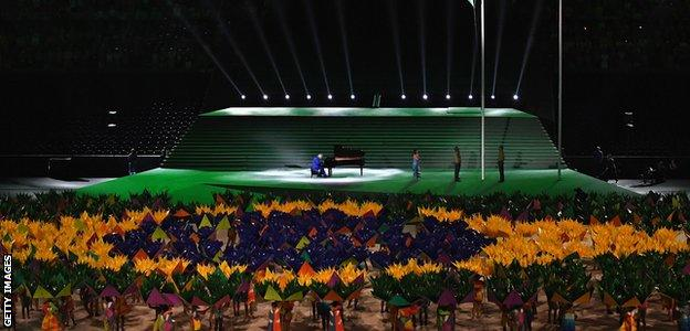 The Brazil flag displayed by performers at the opening ceremony.