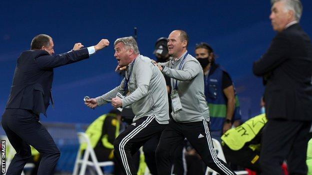 Yuriy Vernydub of FC Sheriff celebrates victory