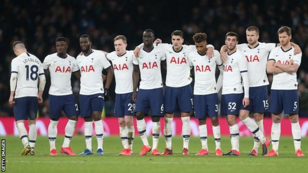 Tottenham players during a penalty shootout
