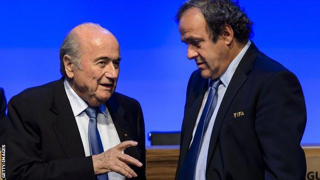 Michel Platini and Sepp Blatter