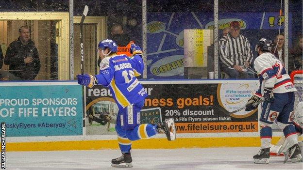 Fife Flyers' Evan Bloodoff celebrates