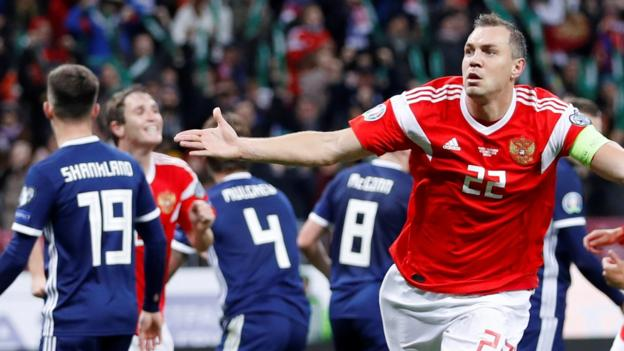 Russia 4-0 Scotland: Scots out of automatic Euro 2020 contention after rout thumbnail