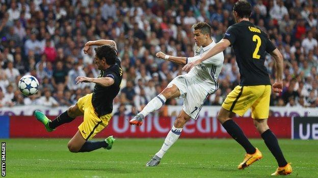 Cristiano Ronaldo scores for Real Madrid against Atletico Madrid